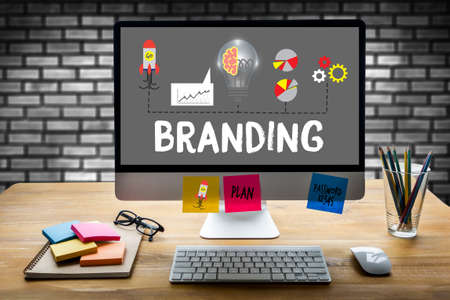 trademark: Business Branding , Branding word , Brand Building concept , Businessman Brainstorming About Branding Strategy to Business , Style Image new Rebrand Change Identity Branding Stock Photo