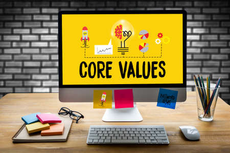 ideology: CORE VALUES ,  Business, Internet and technology CORE VALUES concept , Loyalty Customer Service  CORE VALUES ,  Trust Honest Reliability , Core Values Core Focus Goals Ideology CORE VALUES