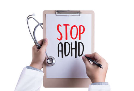 adhd: STOP ADHD CONCEPT Medicine doctor hand working Professional doctor use computer and medical Stock Photo