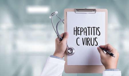 vacunacion: VIRUS DE LA HEPATITIS C, VHC. Informe Médico, el virus de la hepatitis C (VHC) las pruebas, Medicamentos para el virus de la hepatitis C (VHC) el tratamiento, la hepatitis C virus de la enfermedad hepática por VHC Foto de archivo