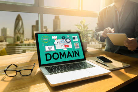Big Data on DOMAIN Web Page and  SEO , internet and web telecommunication Domain ,  Global Communication Homepage Www , DOMAIN NAME REGISTRATION 免版税图像