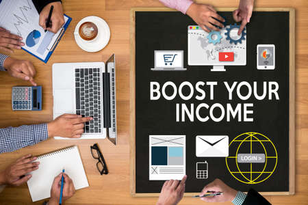 boost: BOOST YOUR BUSINESS , BOOST YOUR INCOME , Business, Technology, Internet and network , boost your brand  , BUSINESS BRAINSTORM Stock Photo