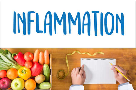 Inflammation   Joint inflammation concept ,  Inflammation - Medical Report , lymph glands inflammation , allergies. dermatology. inflammatio Stock Photo