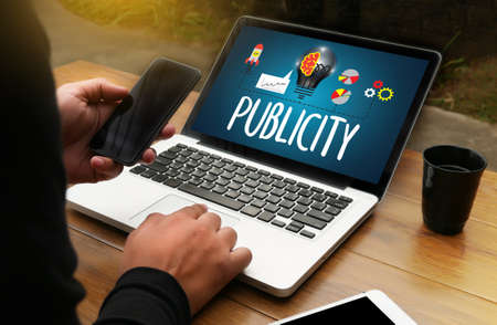 PUBLICITY   Online Marketing Advertisement Social Media Stock Photo