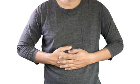 symptomatic: MAN with symptomatic acid reflux , suffering from acid reflux at park