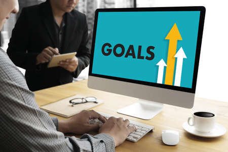 refinement: Businessman Success Increase GOALS PROFIT GROWTH TARGET EARNINGS QUALITY Improve Your Skills and Make things better to Improvement Arrow up Stock Photo