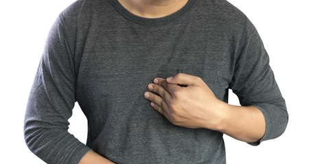MAN with symptomatic acid reflux , suffering from acid reflux at park