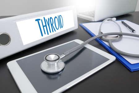 thyroid cancer: THYROID gland and trachea scheme shown , Health care and medical concept , throat pain