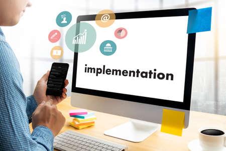 enact: implementation Entrepreneur Business Venture Target To Goals Expansion  Marketing Concept
