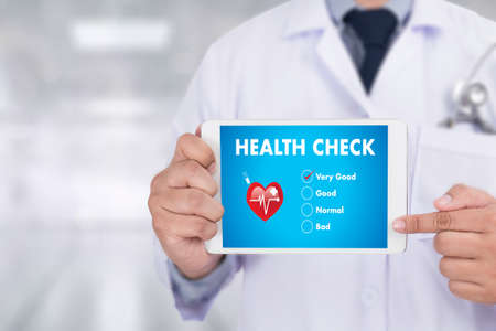 HEALTH CHECK Medicine doctor working with computer interface as medical