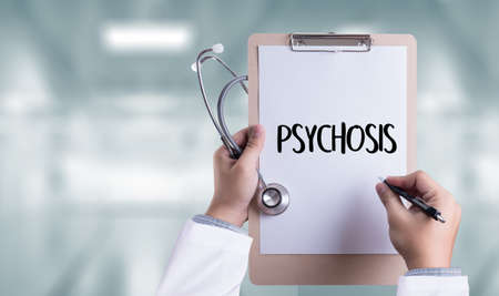 PSYCHOSIS and Background of Medicaments Composition, Stethoscope, mix therapy drugs doctor and selectfocus