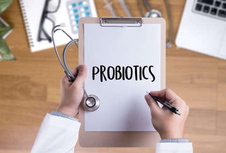 Probiotics 의료 장비 건강 한 개념을 먹는입니다. 스톡 콘텐츠