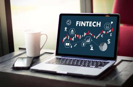 フィンテック投資金融インターネット技術お金ビジネス通貨アイコン在庫グラフ 写真素材