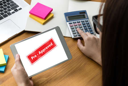 Pre-Approved Choice Mark Selection CUSTOMIZE Status Option and CUSTOMS Stock Photo