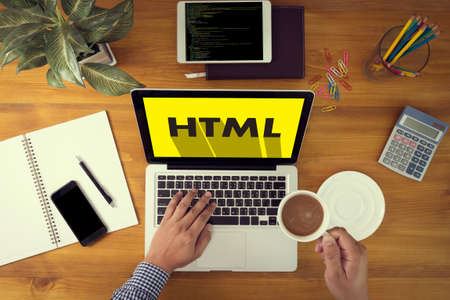 css: Learn HTML, web development and web design,  Trendy long shadow flat design and HTML word on screen Computer Coding Code Php Programming Coding Cyberspace