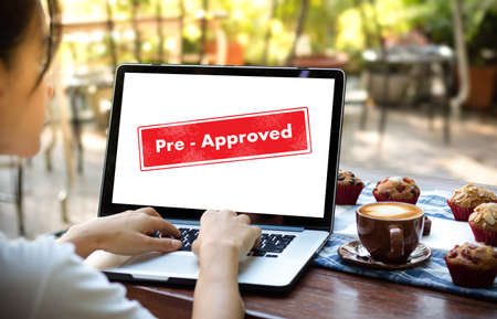 the view option: Pre-Approved Choice Mark Selection CUSTOMIZE Status Option and CUSTOMS Stock Photo