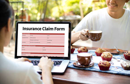 CLAIMS Health insurance form , Business Concept , Insured Claims Emergency Condition Stock Photo