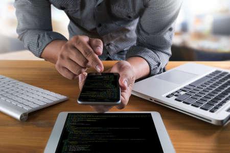 Developer Team Working Laptop Computer Mobile Application Softwareand Web Design Online Technology Content , Web script , laptop display  Stock Photo