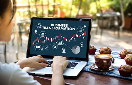 Digital BUSINESS TRANSFORMATION  , Hi-tech technological Digital and About Digital Marketing Stock Photo