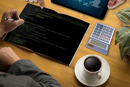 css: Developer Team Working Laptop Computer Mobile Application Softwareand Web Design Online Technology Content , Web script , laptop display  Stock Photo