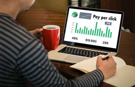 PPC - Pay Per Click concept Businessman working concept