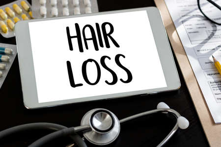altimeter: alopecia air loss haircare medicine bald treatment , Hair loss symptoms ALOPECIA male head Stock Photo