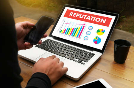 REPUTATION Popular Ranking Honor Reputation management Branding Concept Foto de archivo