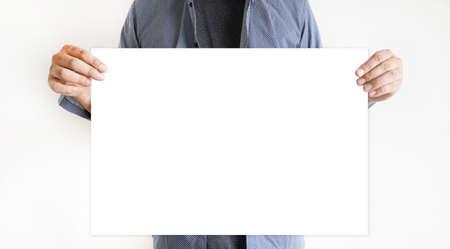 男持株白紙の横断幕 写真素材
