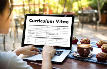 CV - Curriculum Vitae (Job interview concept with business CV resume) , BUSINESS OFFICE BUSINESSMAN WORKING application job Stockfoto