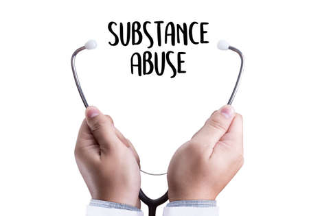 Substance Abuse doctor hand working Professional doctor Stock Photo
