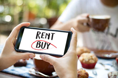Buy not rent  concept. Choosing buying over renting Stock Photo