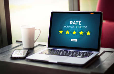 hotel reviews: Businessman holding five star rating  Review increase rating or ranking, evaluation and classification concept