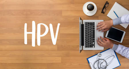 oral cancer: HPV CONCEPT Virus vaccine with syringe HPV criteria for pap smear slide cytology.