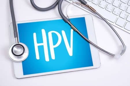 HPV CONCEPT Virus vaccine with syringe HPV criteria for pap smear slide cytology. Stock Photo - 78019759