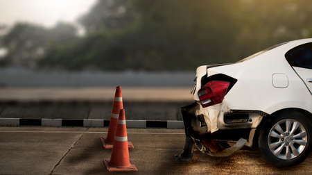 car accident damaged on the road car crash accident on street, damaged automobiles Stock Photo
