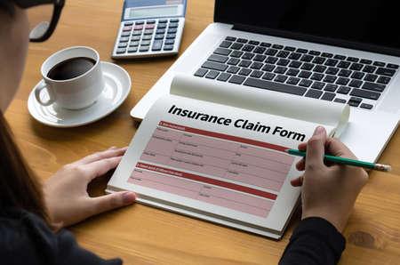 健康保険の形態のビジネス コンセプトは、被保険者債権の緊急状態を主張します。