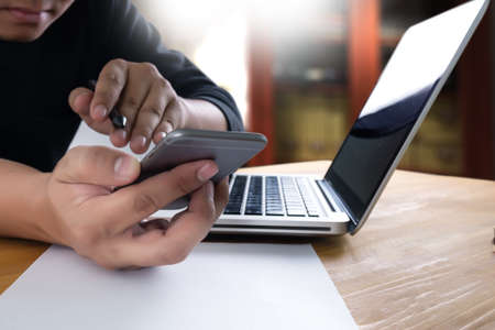 businessman work and working with smart phone and laptop and digital tablet computer