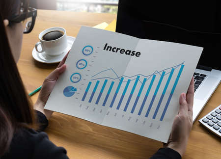 Sales Many charts and graphs Business Increase Revenue Shares Concept
