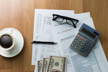 note paper: tax Individual income return Financial Accounting form Time for Taxes Money Taxation