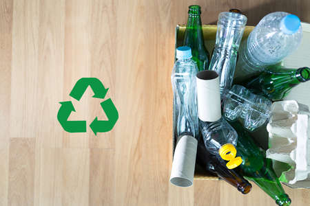 white wine: Recyclable garbage consisting  glass Savings plastic Plastic Environment Reduce Junk Stock Photo