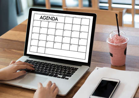 wood texture: Agenda Activity Information Calendar Events and Meeting Appointment Stock Photo
