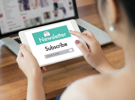 Join Register Newsletter to Update Information and Subscribe Register Member Stock Photo