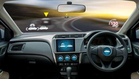 autonoom rijdende auto en digitale snelheidsmeter technologie afbeelding visueel