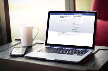 illustrative editorial: BANGKOK, THAILAND - MAY 17, 2016 :  Facebook application,  logo on the screen ,  social networking service and website Computer Browsing Website