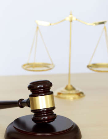 barrister: Gavel and legal Judge gavel scales of justice and law working on table Stock Photo