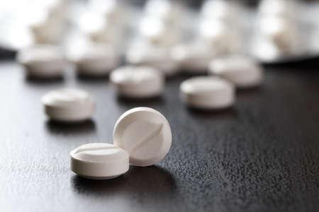 White medical pills   Drug treatment medication. health. Pharmacy  copy space