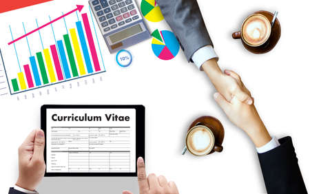 review: CV - Curriculum Vitae (Job interview concept with business CV resume) , BUSINESS OFFICE BUSINESSMAN WORKING application job Stock Photo