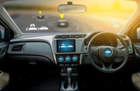 autonomous driving car and digital speedometer technology image visual Archivio Fotografico