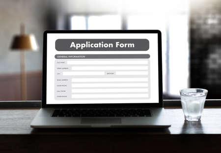 business man working on laptop computer use Online Web Job Application Form moniter