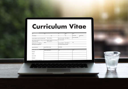 university application: CV - Curriculum Vitae (Job interview concept with business CV resume) , BUSINESS OFFICE BUSINESSMAN WORKING application job Stock Photo